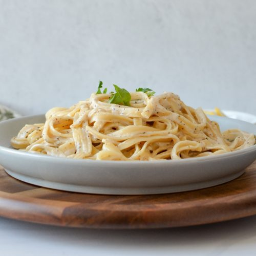 Fettucine Alfredo with Cream Cheese on a plate