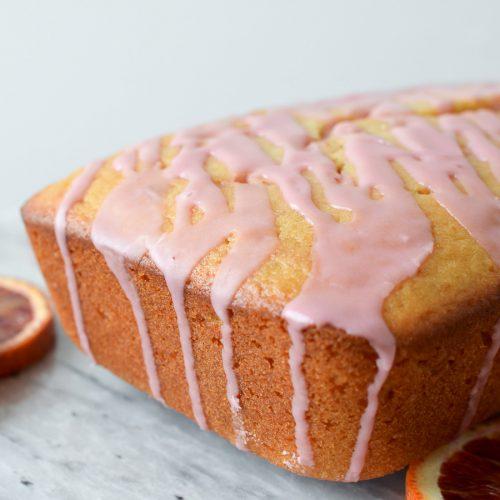 Blood Orange Loaf Cake with glaze