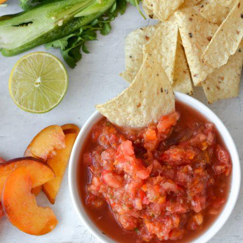 Fresh Peach Salsa in a serving dish