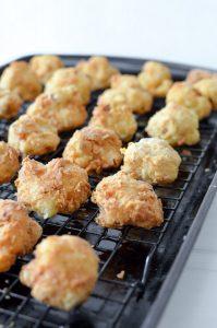 Fried Cauliflower Bites Draining on a cooling rack