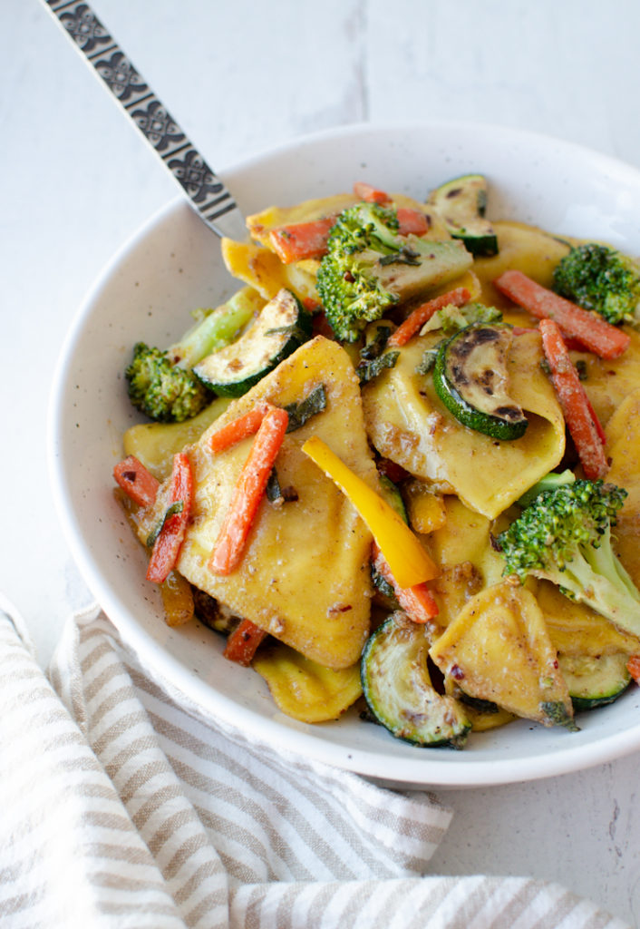 Brown Butter Sage Sauce over Butternut Squash Ravioli with Roasted Vegetables