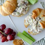 Vegan Chicken on Croissants with grapes and celery