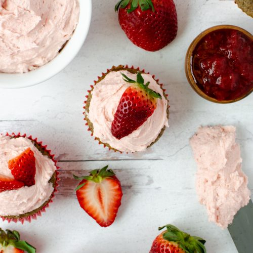 Strawberry Buttercream decorated cupcakes