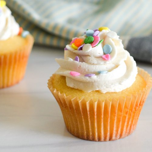Frosted yellow cupcakes