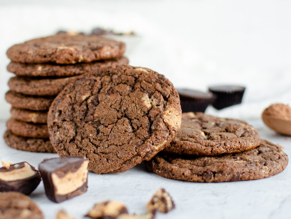 Chocolate Cookies with Peanut Butter Cups stacked