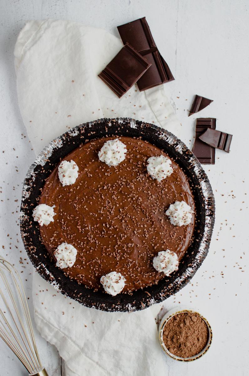 Vegan Chocolate Pie with chocolate shavings