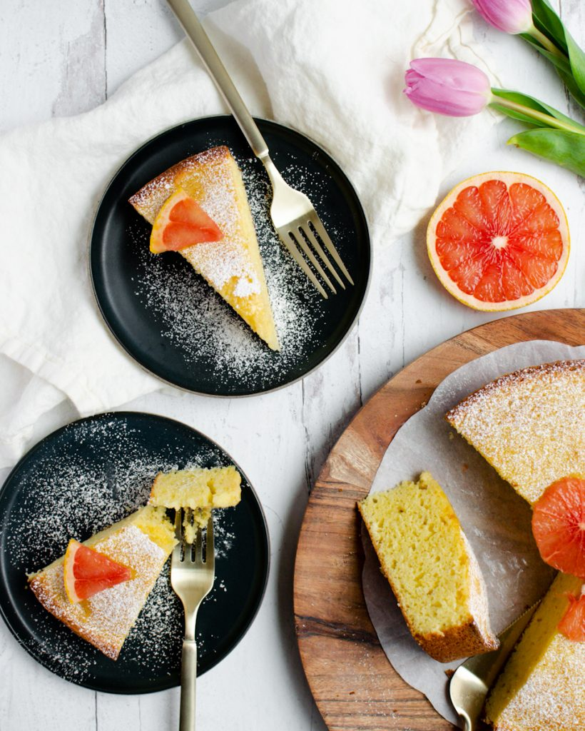 Fresh Grapefruit Cake slices on plates