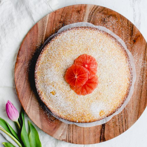 Fresh Grapefruit Cake on a serving platter