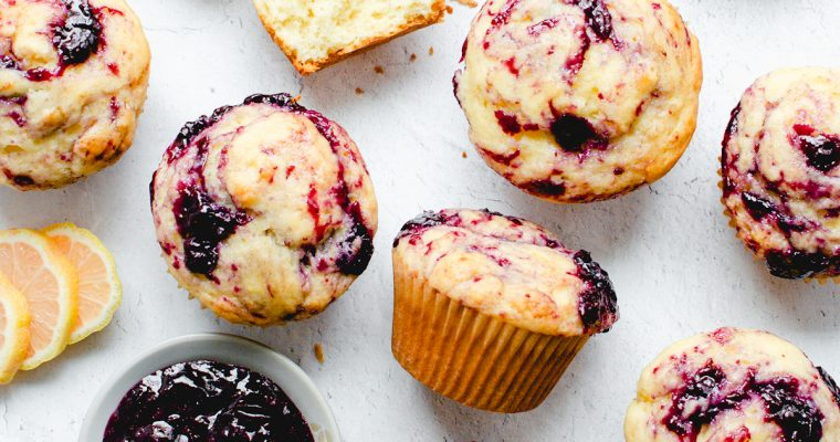 Lemon Muffins with Berry Compote