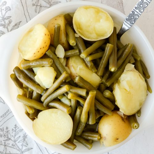 Vegetarian Southern Green Beans and New Potatoes in a bowl