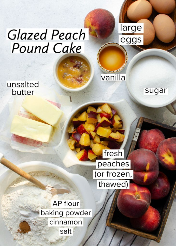 Ingredients for making glazed peach pound cake on a table
