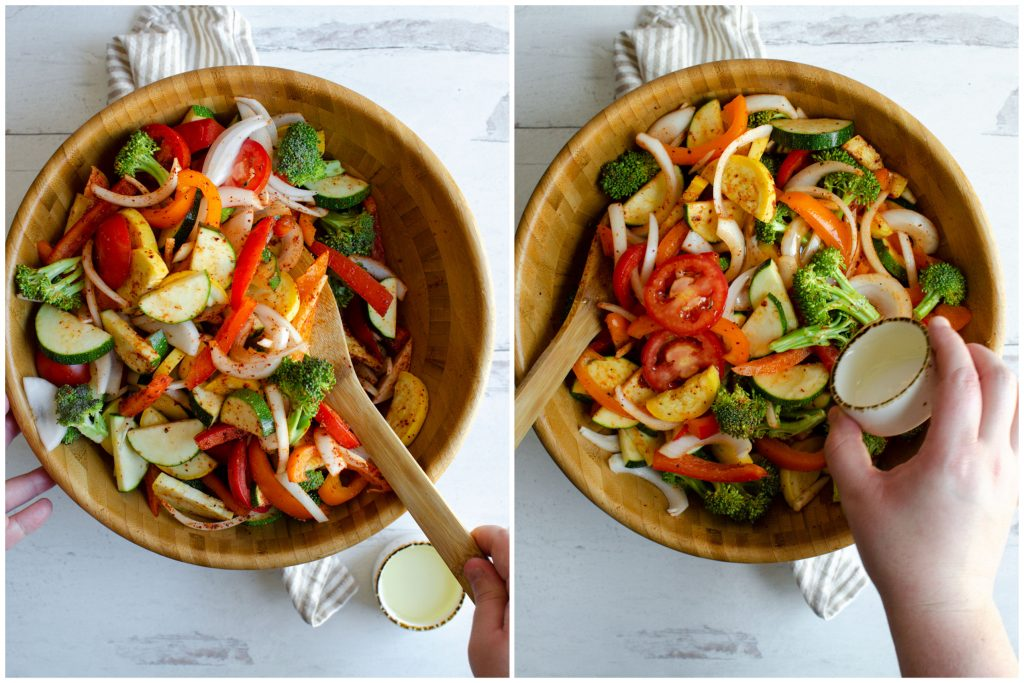 Preparing fajita veggies