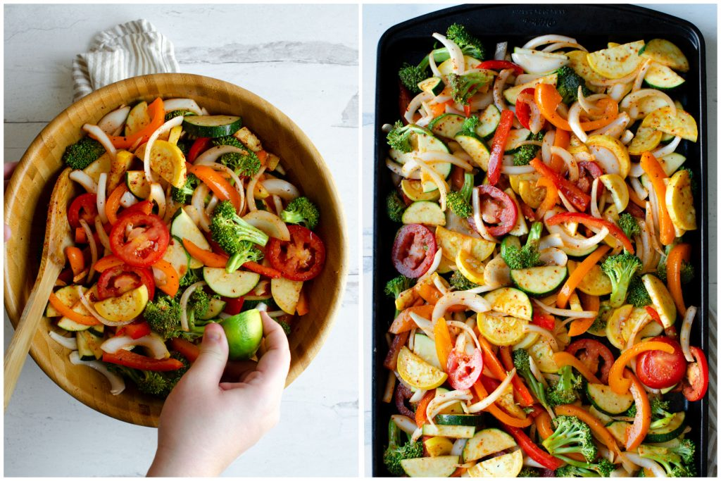 Putting fajita veggies on a sheet pan