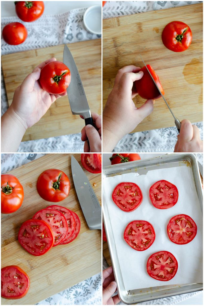 Steps for freezing fresh tomatoes in slices