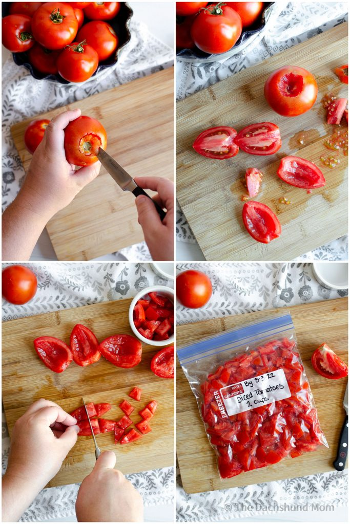 Steps for freezing fresh diced tomatoes