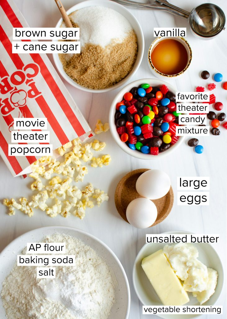 Ingredients for movie night candy cookies
