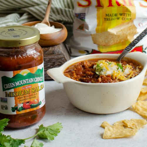 Game Day Chili with Salsa on a table