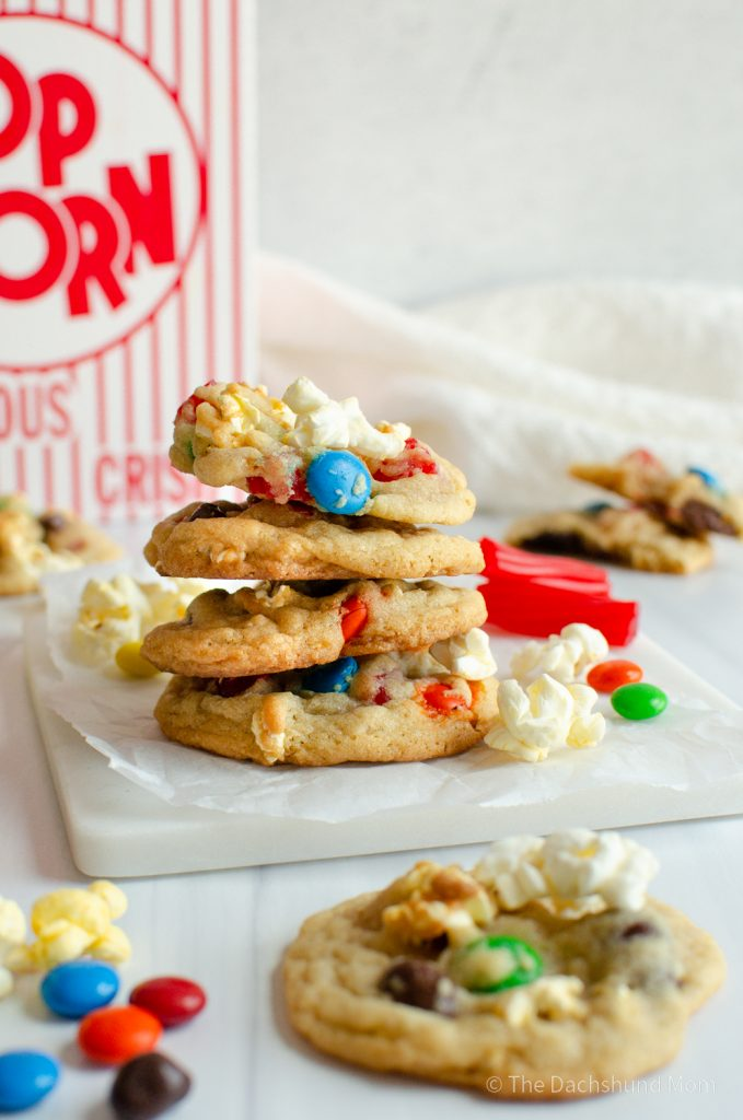 Movie Night Cookies in a stack