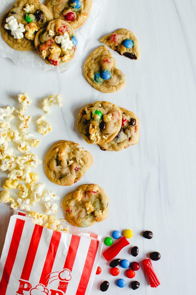 Movie Night Cookies next to movie theater popcorn