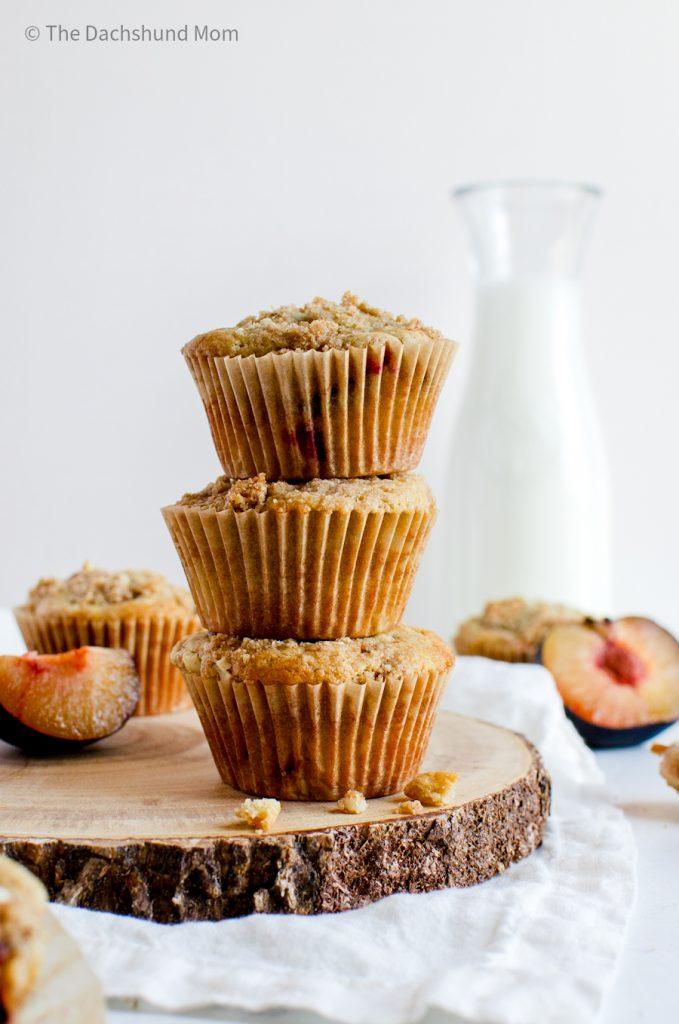 Plum muffins in a stack