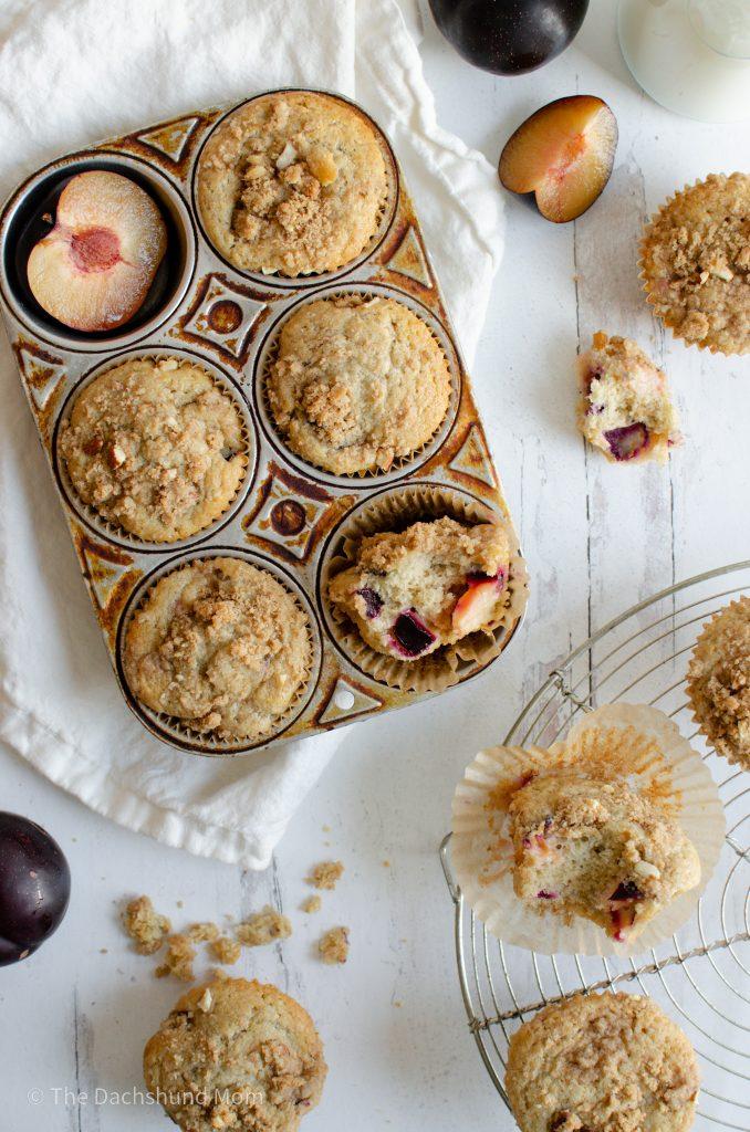 Plum Muffins in a muffin tin