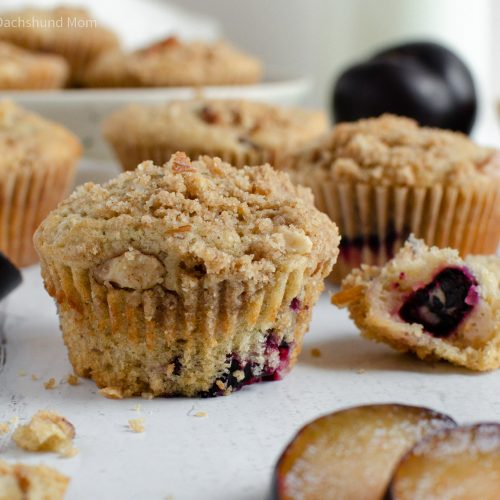 Plum Muffins with Almond Streusel