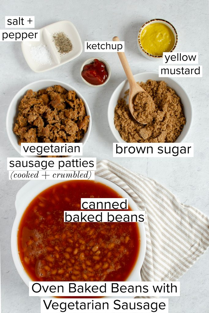 Ingredients for Oven Baked Beans with vegetarian sausage