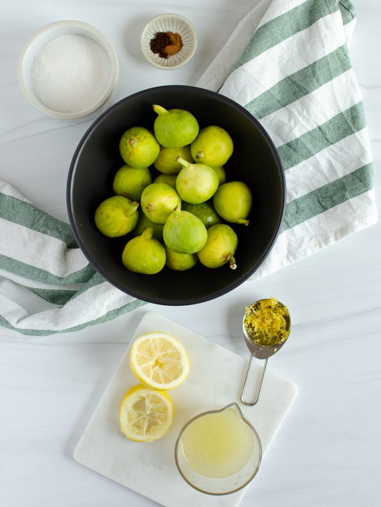 Ingredients for green fig jam