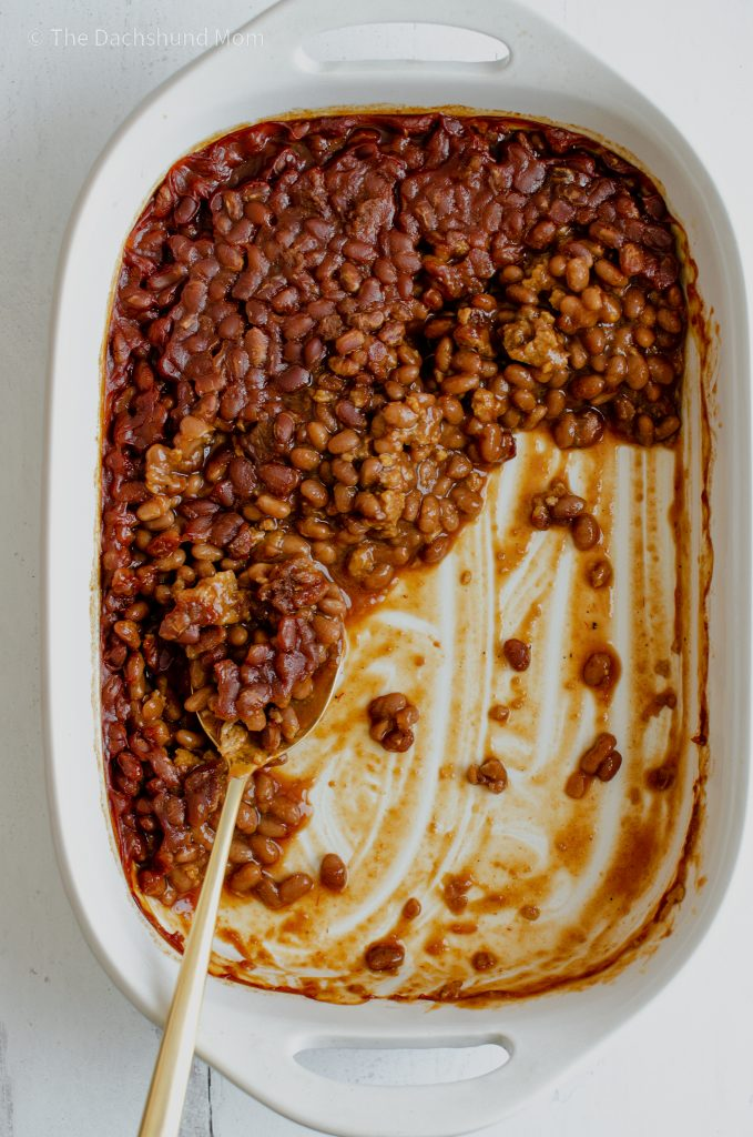 Oven Baked Beans in a casserole dish