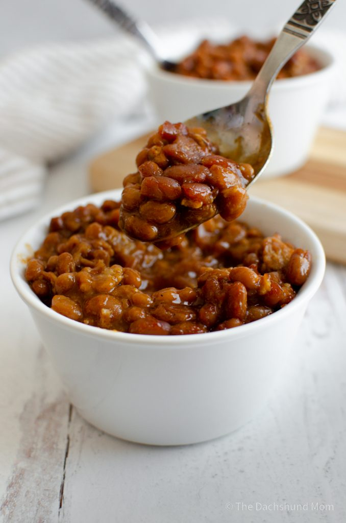 Oven Baked Beans with sausage in a bowl