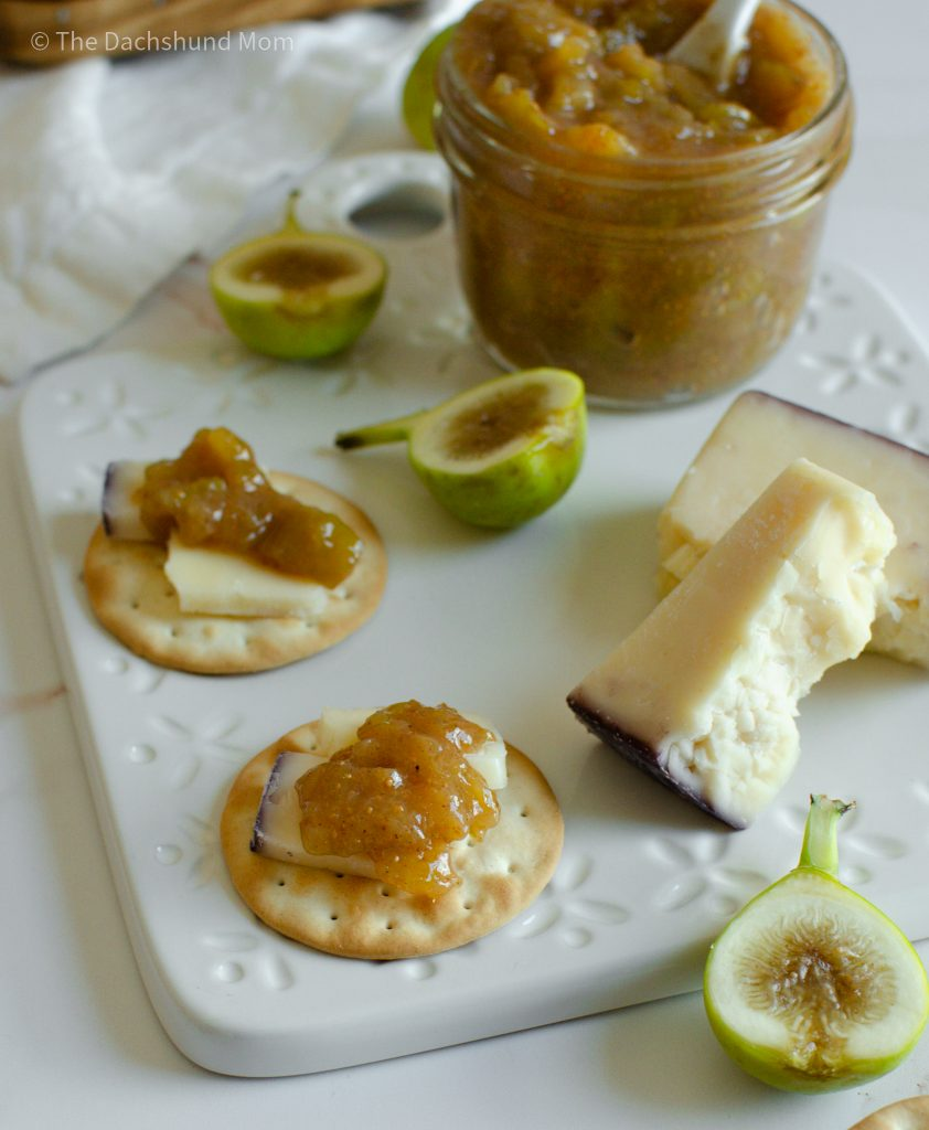 Fig jam on a cheese board